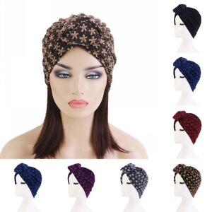 Muslim Women's Turban Decorative Hijab Caps African Dark Pattern Bonnet Headwear