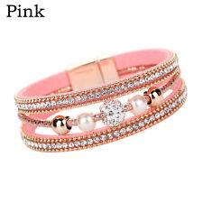 Hot Women Multilayer Bangle Bracelet Crystal Beaded Leather Magnetic Wristband Pink