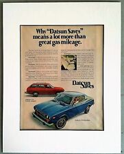 Vintage 1975 Datsun 710 Hardtop & 5-Door Wagon Full Page 8x10 AD Matted to 11x14