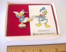 Vintage Walt Disney Productions Donald Duck on Roller Skates Pin / Original Box
