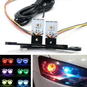2x RGB LED Devil Eyes For Car H1 Headlights Projector Lens Retrofit APP Control