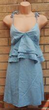 TOPSHOP Azul Con Tiras Denim Jeans Volado Volante una línea Vestido Blusón Dolly Slip 6 XS