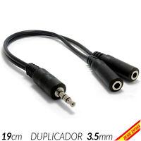 Cable Splitter NEGRO 1 a 2 Jack 3.5mm Ladron Duplicador Divisor Audio Estereo