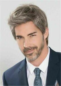 100% Human Hair Natural Short Straight Gray Fashion Men's Wig