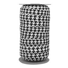 100 Yard Spool - Fold Over Elastic - Black On White Houndstooth Printed - 5/8in