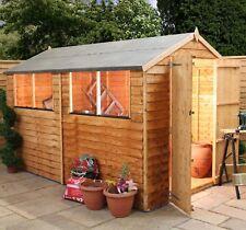 10x6 Overlap Wooden Garden Shed Windows Double Door Apex Roof Felt Delivery