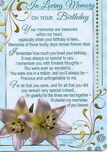 On Your Birthday Graveside Memorial Verse Card Keepsake Remembrance Cemetery
