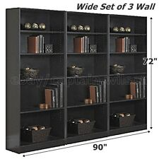 Bookcase WIDE 5 Shelf Set of 3 Wall Black Adjustable  Wood Bookshelf Storage