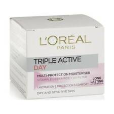 ** 2 X L'OREAL TRIPLE ACTIVE DAY CREAM DRY & SENSITIVE SKIN NEW 50ml EACH **