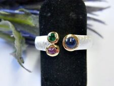 SCHMUCK-STCK RING SILBER Safir Rubin Smaragd NEU 59 19 vergoldet Facetten multi