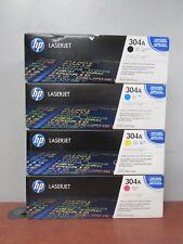 4 Genuine HP LaserJet 304A Print Cartridges: Black Cyan Yellow Magenta [32D-E]
