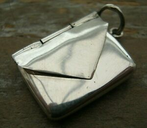 A Miniature Novelty Solid Silver 925 Envelope Case Stamp Holder - Charm