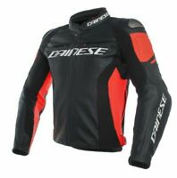 Free Shipping Racing 3 Leather Jacket Black / Fluo Red - All Sizes!