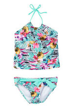 NWT Raisins/Roxy 4 Girls 2 Pc  Bikini Tankini Hermosa Cami Set Green Pink