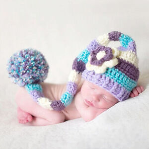 Newborn Baby Girl Boy Crochet Knitted Elf Hat Costume Outfits Cloth Photo Props