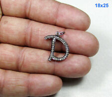 """D"" Script Charm Pave Diamond with 925 Sterling Silver Alphabet Fine Pendant"