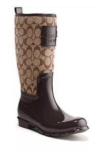 NEW In Box Authentic Coach Signature Khaki Rain boots Sz 7