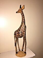 African Giraffe Spotted Hand Carved Unique Home Decor Wooden 2 Ft Tall Beautiful