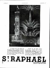 Publicité Apéritif St.Raphaël Quinquina Tour Eiffel Paris Tabac de Virginie 1937