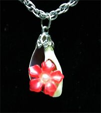 SEASHELL & RED FLOWER NECKLACE Vintage Pendant Sea Shell  Silvertone 26""