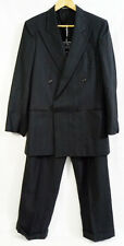 Vintage Zagato Charcoal Gray Variegated Striped Double Breasted Wool Suit 38L 31