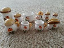 "Vintage ""Merry Mushroom"" Miniature 10-Piece Set Made in Japan"