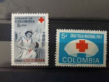 timbres Colombie croix rouge 1964 et 1967 neuf *