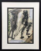 Expressionist 2 Figuren Modern Art Deutschland 1984 signiert 56 x 45 Stuttgart?