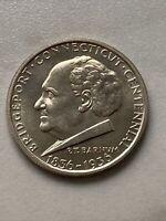 1936 Bridgeport Commemorative Silver Half Dollar Choice Gem BU Golden Toned UNC