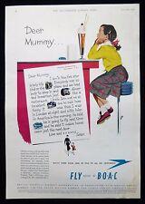 BOAC AIRLINE GIRL IN NEW YORK ICE CREAM FLOAT SODA 1950s MAGAZINE ADVERT 1951