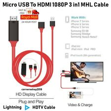UK Micro USB à HDMI 1080P 3 in1 MHL Cable Samsung Galaxy S7 iPhone iPod iPad