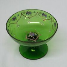 Very RARE Victorian Green Glass Enamel Gold Hand Painted Design Sherbet