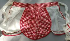 New listing Vintage White Sheer w/Red Houndstooth Fabric Kitchen Half Apron