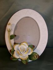 50th Wedding Anniversary Porcelain Photo Picture Frame - Oval Design w/ Roses