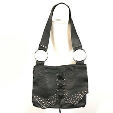 hand crafted leather bag stud Lace Up Detail Black Gothic