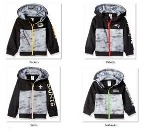 NFL Team Logo Boys Black Hooded Jacket by Gerber -Select- Size Below
