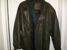Men's olive green X-Large leather jacket with belt