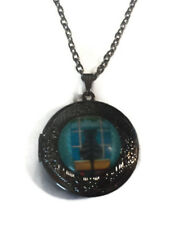 Cat in Window LOCKET Pendant Gun Black Silver Chain Necklace USA Ship #156