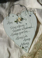 Wedding Gift for Mother of the Groom  Personalized shabby chic wooden heart
