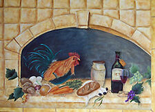 Rooster Brick Oven wine grapes still life print of original  on linen card stock