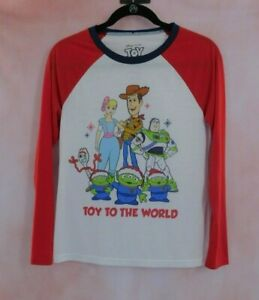 """Disney Toy Story Long Sleeve Christmas Pajama Top Size S """"Toy To The World"""""""