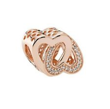 S925 Silver EURO Charm 14K Rose Gold Pl Entwined Love Hearts by Pandora's Angels