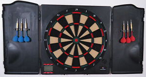 New Sportcraft Electronic LED Dartboard And Cabinet Soft Tip Darts