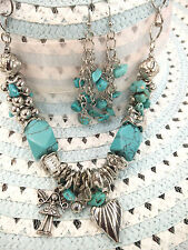 Angel Fairy Heart Pendant Charms Turquoise Stone Silver Chain Necklace Earring
