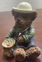 Teddy Bear Fishing Figurine