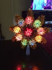 Vintage Christmas Tree Topper 10 Light Star Gold Wreath