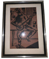 LINOCUT PRINT OF A BANJO PLAYER, MUSICIAN, ART, MUSIC, FRAMED & MATTED