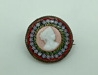 Gorgeous Antique Art Deco Italian Micro Mosaic Cameo Round Brooch