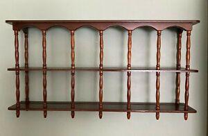 Vintage Wood Tea Cup / Saucer Display Wall Shelf Knick knack Curio Shadow Shelf