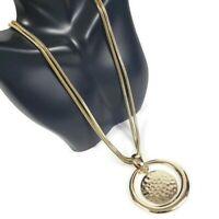 JOAN RIVERS Necklace Goldtone Circle Disc Polished Hammered Pendants Reversible
